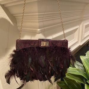 ALDO purple snake feather bag